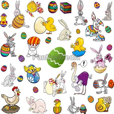 ostern themen cartoon set