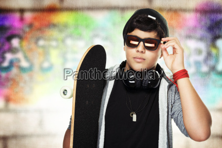 handsome skateboarder portrait
