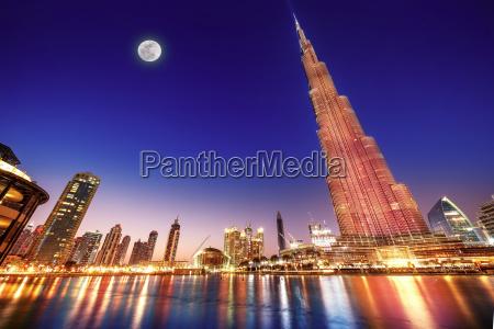 burj khalifa night landscape