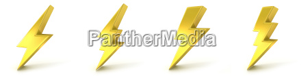 blitzsymbole 3d goldene zeichen