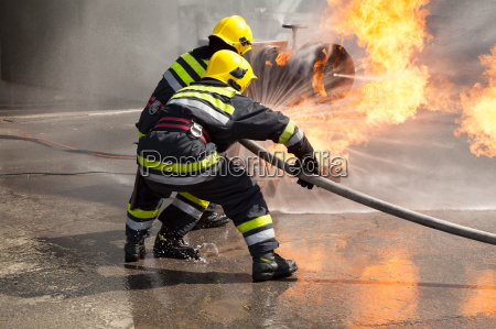 firefighters in action fire department training