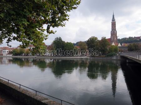 old town panorama is reflected in