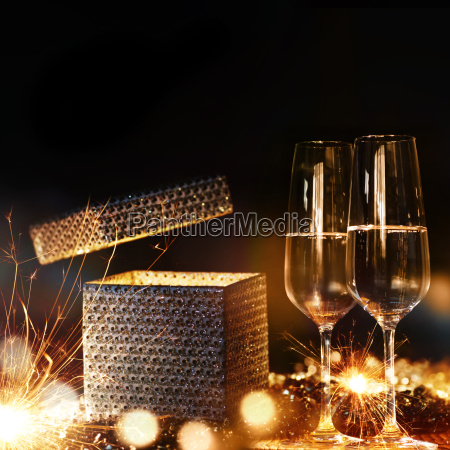 magical gift with champagne