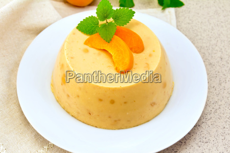 panna cotta apricot on napkin and