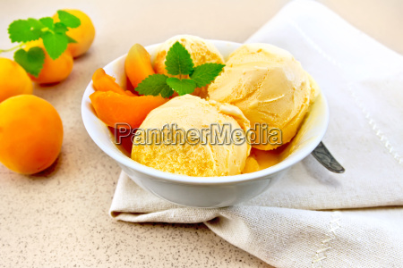 ice cream apricot with mint in