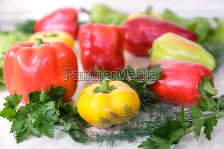 red yellow and green pepper
