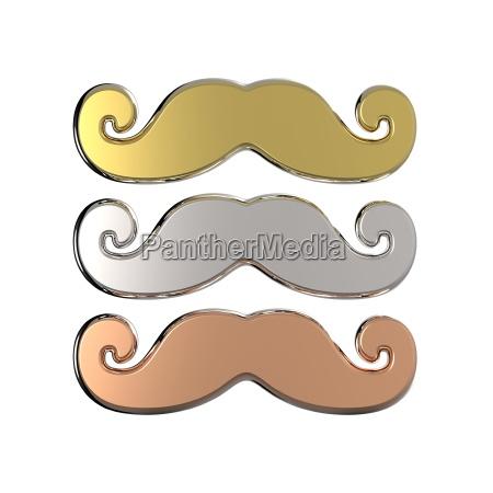 gold silber und bronze schnurrbart 3d