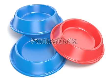 zwei blaue haustierschalen zum essen und