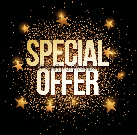 special offer banner with gold glitter