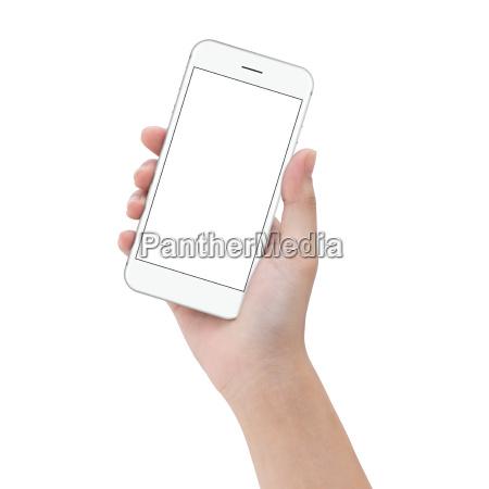 nahaufnahme hand halten telefon isoliert auf