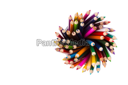 set of color pencils in office
