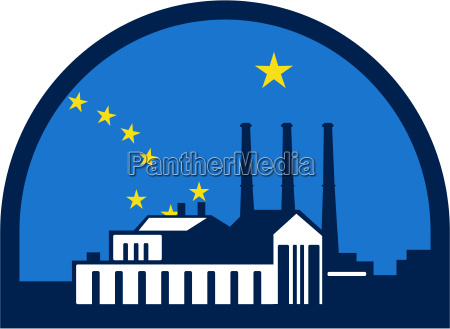 power plant alaska flag halbkreis retro