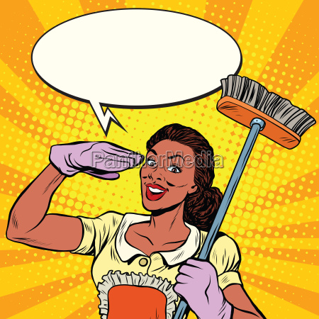 beautiful woman cleaner with brush for