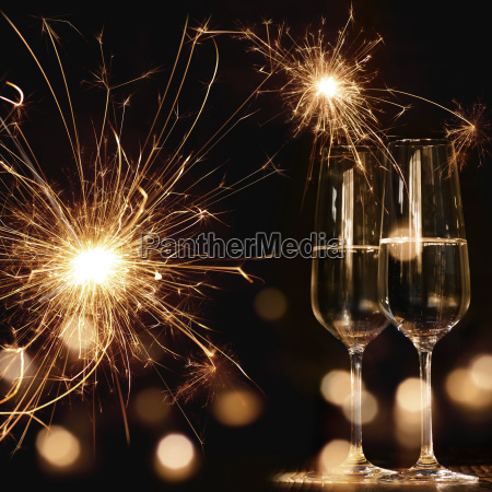 new year motif with fireworks and