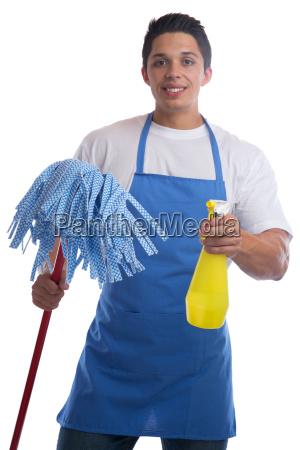 putzen reinigen reinigungskraft beruf mann freisteller
