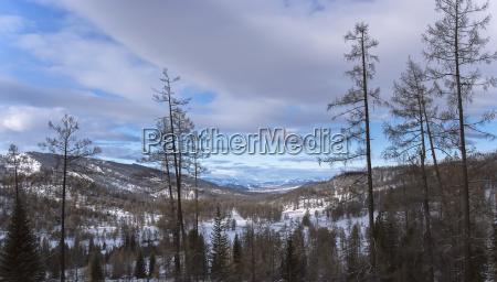 winter snow mountain slope field on