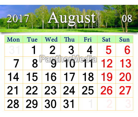 kalender fuer juli 2017 auf dem