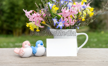 spring bouquet with birds and greeting