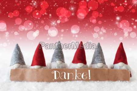 gnomes red background bokeh stars danke