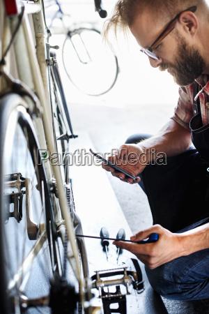 a bike mechanic in a bicycle