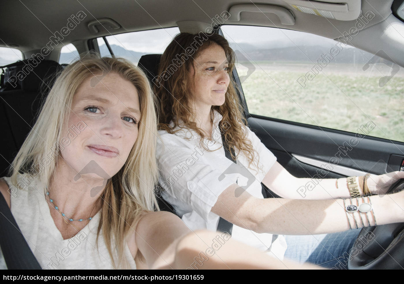 two, women, in, a, car, on - 19301659
