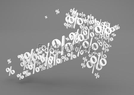 3d illustration wachstum pfeilform mit symbolen