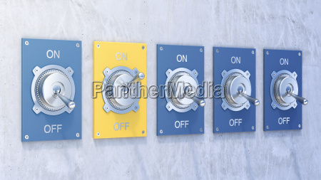 different flip switches on off