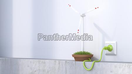 3d rendering wind wheel producing electricity