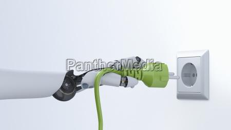 robot hand with green plug plug