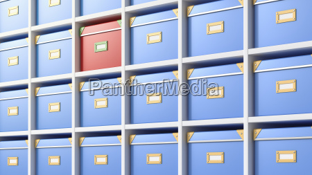 boxes in a shelf 3d rendering