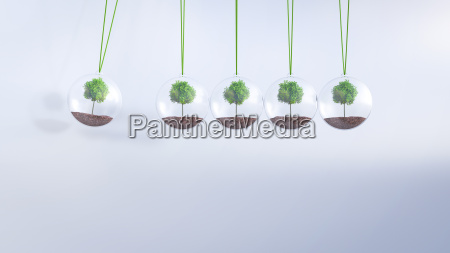 newtons cradle with trees 3d rendering
