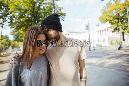 austria vienna young couple in front