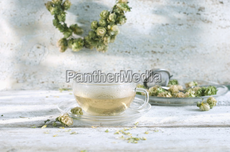 hop tea in glass cup