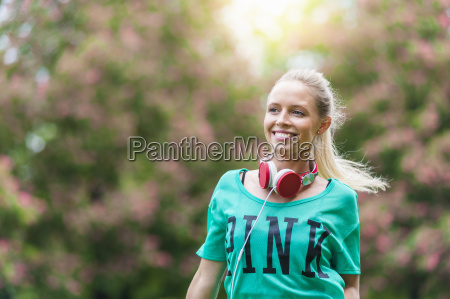 portrait of happy blond woman with