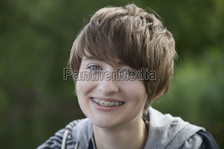 portrait of smiling teenage girl with