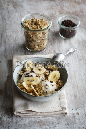 banana icecream with oat flakes topping