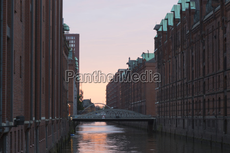germany hamburg old warehouse district canal