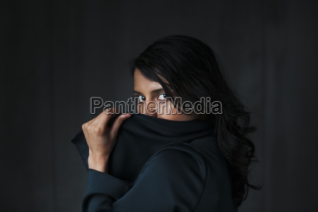 portrait of female indian obscured face