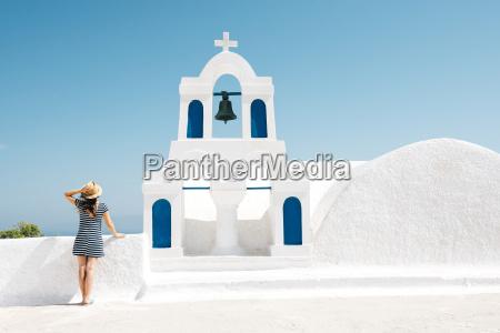 greece santorini oia back view of