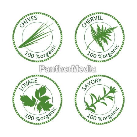 set of herbs labels 100 organic