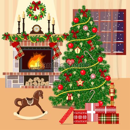 weihnachten eingerichtete zimmer mit weihnachtsbaum kamin
