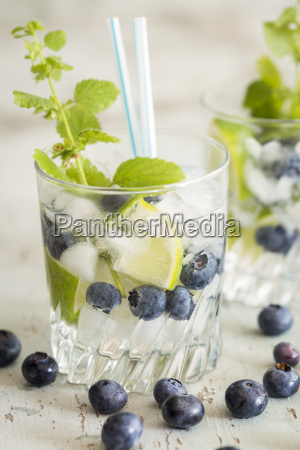 fresh mineral water with blueberries mint