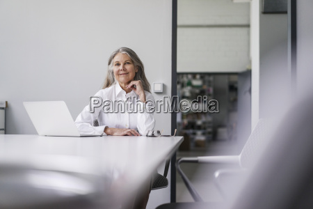 portrait of smiling senior businessswoman sitting