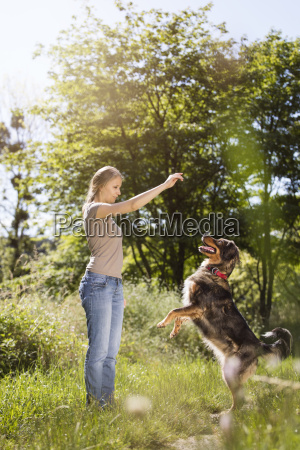 young woman taming her mongrel on