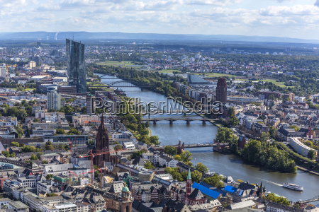 germany hesse frankfurt cityscape with european
