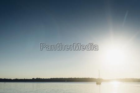 sailing boat on lake cospuden at