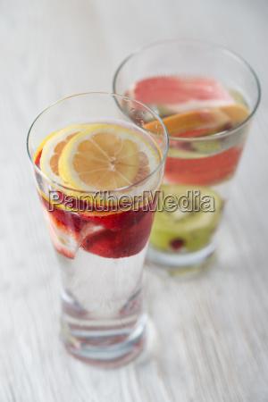 two glasses of water flavoured with