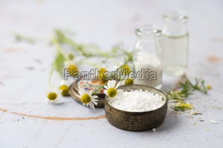 chamomile flowers and globules