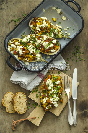 filled aubergine with bell pepper tomato