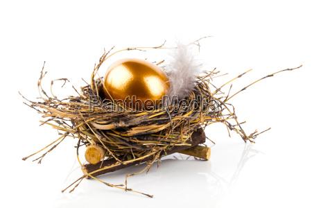 goldenes ei im nest